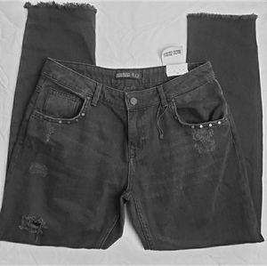 Zara Basic Denim Ankle Studded Jeans Size 28 NWT